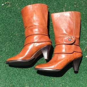 Frye Tina Button Mid Calf Leather brown boots!